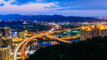 Cityscape of taipei night scene city with highway Royalty Free Stock Photography