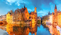 Cityscape with a tower Belfort from Rozenhoedkaai in Bruges at s Royalty Free Stock Photo