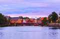 Cityscape of trondheim norway at sunset architecture background Royalty Free Stock Photography