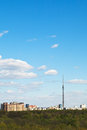 Cityscape with TV tower and urban park in Moscow Royalty Free Stock Photo