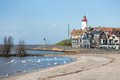 Cityscape of Urk seen from the beach Royalty Free Stock Photo