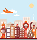 Cityscape vector illustration city with modern office buildings passenger plane flying in the blue sky Stock Photo
