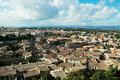 Cityscape view from the fortress of the base city of carcassonne in aude department of france seen form the walled city Stock Images