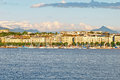 Cityscape view of lake geneva switzerland august along the bank august Royalty Free Stock Photos