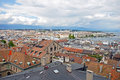 Cityscape view and shoreline of lake geneva switzerland august from atop a cathedral tower august Stock Image