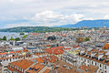 Cityscape view and shoreline of lake geneva switzerland august from atop a cathedral tower august Royalty Free Stock Photo