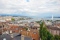 Cityscape view and shoreline of lake geneva switzerland august from atop a cathedral tower august Stock Photography