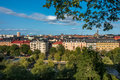 Cityscape view of Stockholm from above with trees and buildings. Royalty Free Stock Photo