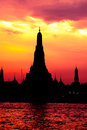 Cityscape of Wat Arun temple in dusk Stock Photo