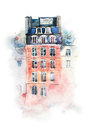 Cityscape watercolor drawing, hand drawn aquarelle painting.