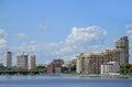 Cityscape of Yekaterinburg, the city pond Royalty Free Stock Photo