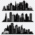 Cityscapes, town skyline buildings, big city silhouettes vector set