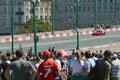 Ciudad de moscú que compite con el coche del rojo de ferrari del coche de competición de a Foto de archivo libre de regalías