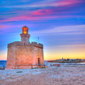 Ciutadella castell de sant nicolas sunset castillo san nicolas in ciudadela balearic islands Royalty Free Stock Images
