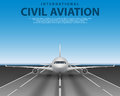 Civil passenger airliner jet on runway. Commercial realistic airplane concept front view. Plane in blue sky, travel