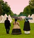 Civil war camp actors walking through a reenactment Stock Photography