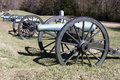 Civil war canon on battlefield in vicksburg row of cannons the national military park mississippi Stock Photos