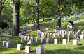 Civil War Cemetery with Flags Royalty Free Stock Photo