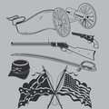 Civil war clip art collection artwork featuring weapons and flags Stock Image