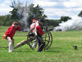 Civil War re-enactment shooting cannon Royalty Free Stock Photo