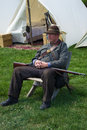 Civil War Reenactor at a Civil War Encampment Royalty Free Stock Photo