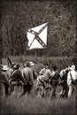 Civil war reenactors carrying flag Royalty Free Stock Photos