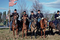 Civil War reenactors portraying Union Cavalry soldiers. Royalty Free Stock Photo