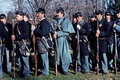 Civil War reenactors portraying Union soldiers. Royalty Free Stock Photo