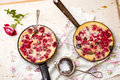 Clafoutis with cherry. style vintage. Royalty Free Stock Photo
