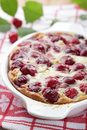 Clafoutis with sour cherry Royalty Free Stock Photo
