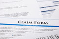 Claim form paperwork and legal document accident and insurance concepts Stock Images
