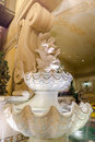 Clam shell fountain with infant on top Stock Image