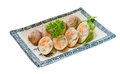 Clams on the plate on the background Royalty Free Stock Image