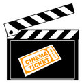 Clapboard and cinema ticket Stock Images