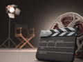 Clapboard concept of cinema your text on the Royalty Free Stock Image