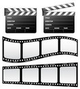 Clapboard and film Royalty Free Stock Images