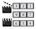 Clapboard film white background Stock Photos