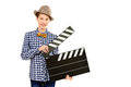 Clapper board beautiful girl teenager holding and smiling at camera different occupations isolated over white Royalty Free Stock Photos