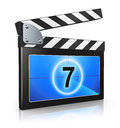 Clapper board creative video media and digital multimedia entertainment concept black and blue for film movie and cinema Royalty Free Stock Photos