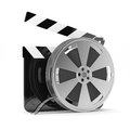 Clapper board with film reel Stock Photo
