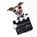 Clapper dog cinema behind white banner Stock Image