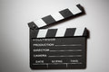 Clapperboard cinema on white Stock Photo