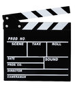 Clapperboard classic black movie clapper board isolated on white Stock Photography