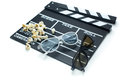 Clapperboard with d glasses and popcorn on white background Stock Photo