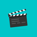 Clapperboard vecto, flat style clapperboard icon, filmmaking device, video movie clapper equipment