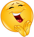 Clapping cheerful emoticon vector design of a Stock Images