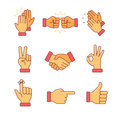 Clapping hands and other gestures Royalty Free Stock Photo