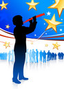 Clarinet player on patriotic background Royalty Free Stock Image