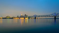 The Clark Memorial bridge, The Ohio River and Louisville KY. Royalty Free Stock Photo
