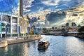 Clarke Quay en el río de Singapur Imagen de archivo